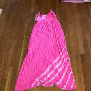 Pink with white tie dye dress